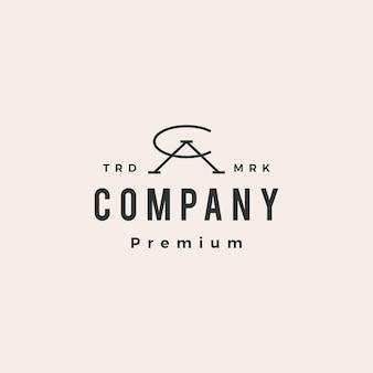 Ca ac letter mark initial hipster vintage logo