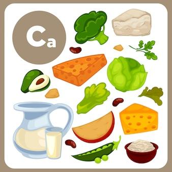 Caと食べ物のイラスト。