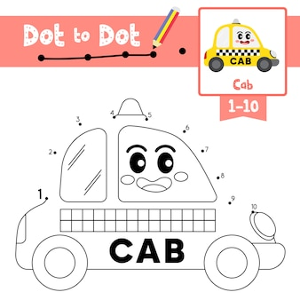 Cab dot to dot game and coloring book