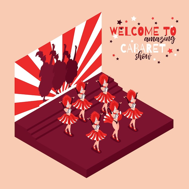 Cabaret illustration with text welcome to amazing show and women dancing cancan on scene isometric