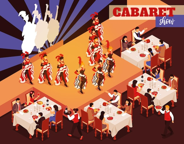 Кабаре-шоу изометрический интерьер ресторана с людьми, сидящими за столиками и смотрящими на балерин, танцующих канкан