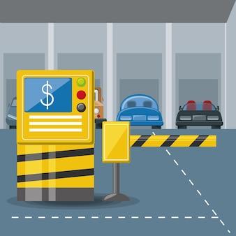 Кабина и парковочный барьер и припаркованные автомобили красочный дизайн