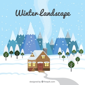 Cabin background in a snowy landscape