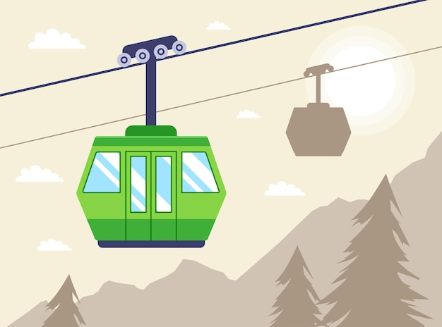 The cabin on the cable car rises along the mountainside