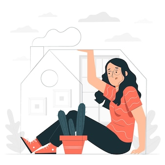 Cabin fever concept illustration