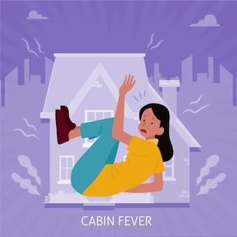 Лихорадка с женщиной в ловушке в доме
