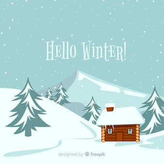 Cabin flat winter background