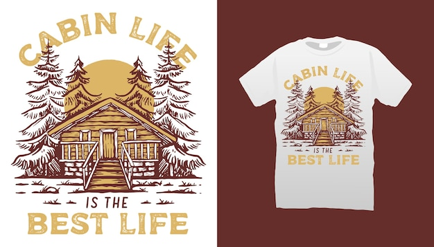 Cabin illustration tshirt design