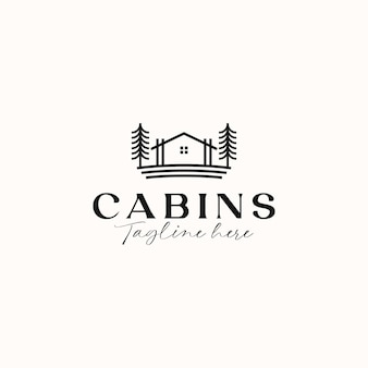 Шаблон логотипа cabin monoline concept, изолированные на белом фоне