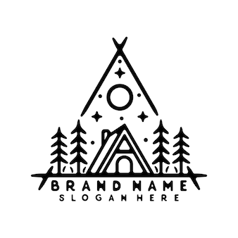 Cabin monoline vintage outdoor badge design