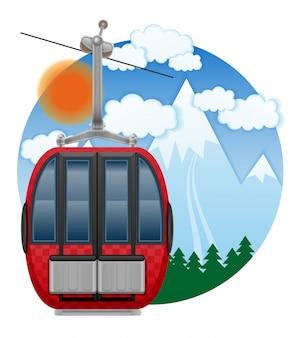 Cabin ski cableway emblem vector illustration