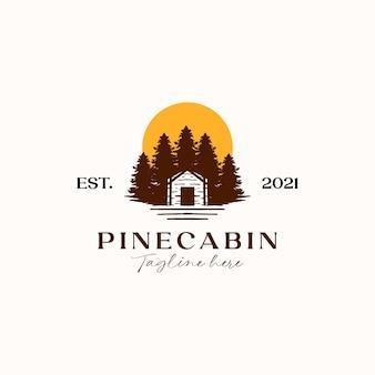 Хижина с сосновым деревом закат логотип шаблон изолированные