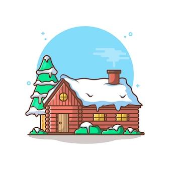 Хижина с деревом и снегом, изолированные на белом фоне
