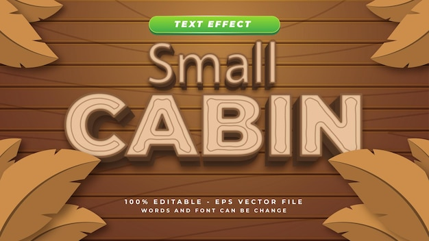 Cabin wood text effect 3d style design template with editable text
