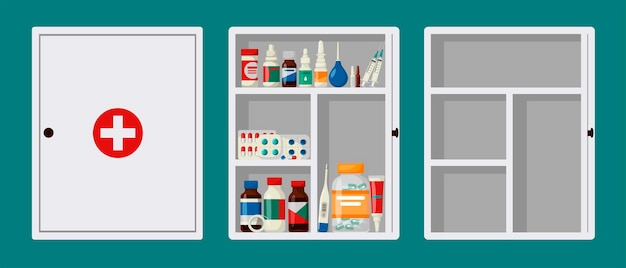 Cabinet first aid kit with open and closed door.