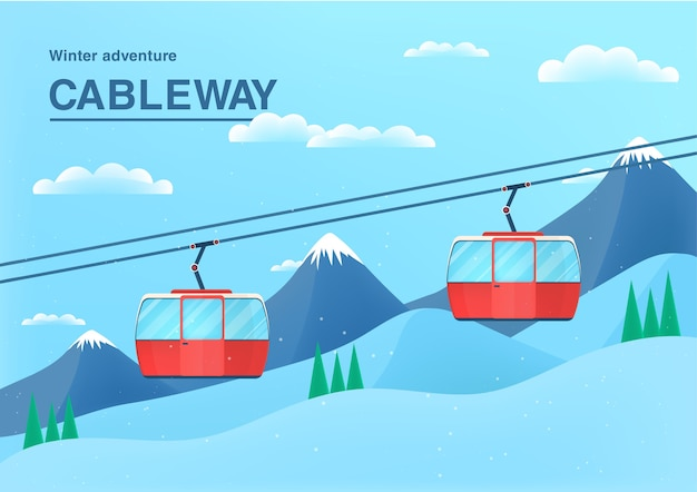 Cable car illustration. funicular railway in mountain landscape