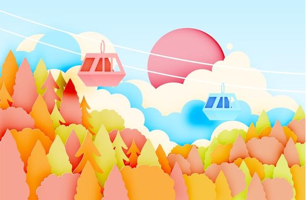 가 배경 벡터 illustratio에 아름 다운 풍경과 케이블카 종이 아트 스타일