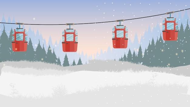 Канатная дорога с прицепами в зимнем лесу. сказочный заснеженный лес. мультяшный стиль. векторная иллюстрация.