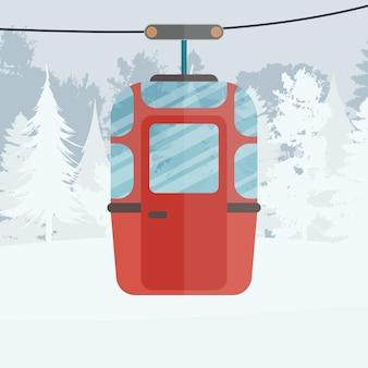 Канатная дорога с прицепами в зимнем лесу. фуникулерная коляска. мультяшный стиль. векторная иллюстрация.