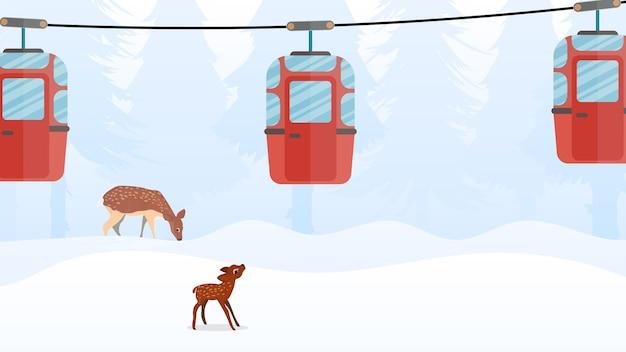 Канатная дорога с прицепами в зимнем лесу. фуникулерная коляска. лес с оленями и снегом. мультяшный стиль. векторная иллюстрация.