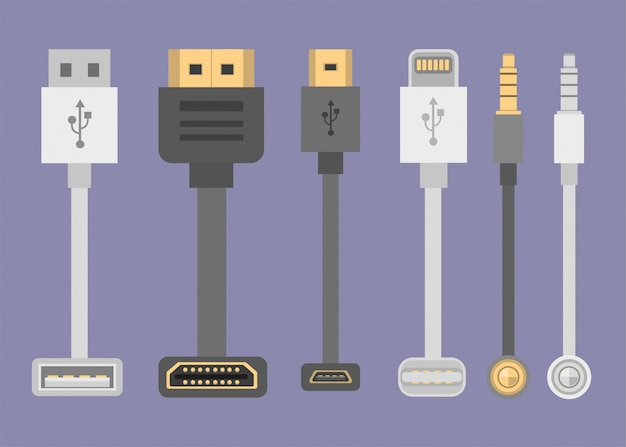 Cable collection, hdmi, usb, lightning, jack audio front and top view in flat illustration