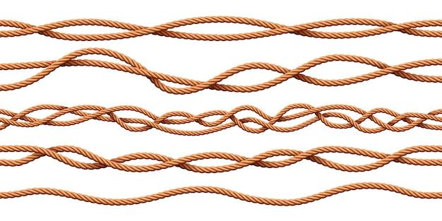 Канаты кабельные. реалистичные мультяшные матросские скрученные кисти. изогнутые морские перегородки из джутового шпагата. декоративная нить вектор фоновый узор