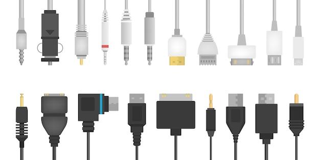 Комплект проводов кабеля. сборник аудио и видео разъема. компьютерные технологии. иллюстрация в стиле