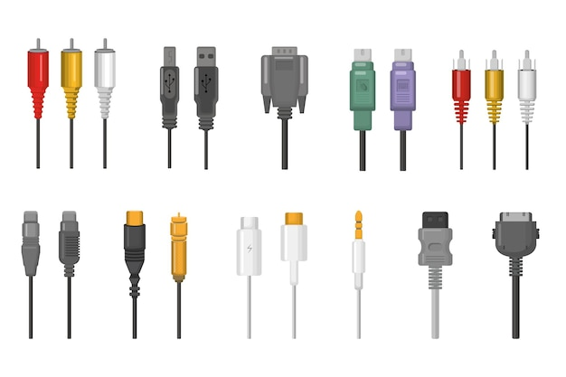 Cables and plug connectors set. wire connections for ethernet, hdmi, vga, usb, video, audio ports