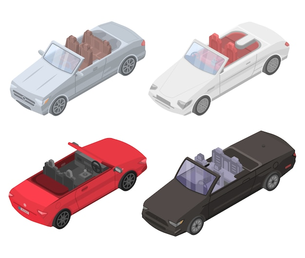 Cabriolet car icons set, isometric style