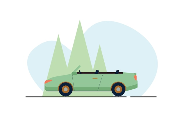 Cabriolet car illustration in flat style