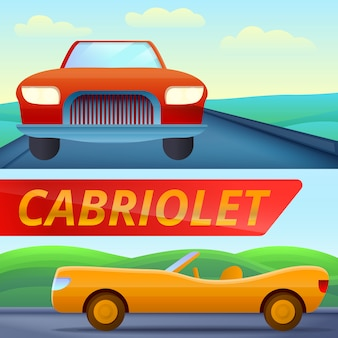 Cabriolet car illustration set on cartoon style