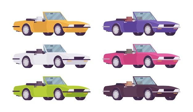 Cabriolet car set in bright colors