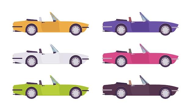 밝은 색상으로 설정된 카브리올레 자동차