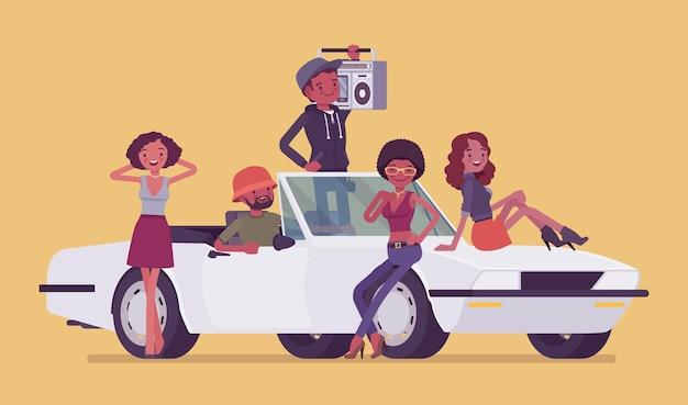 十代の若者たちのイラストとカブリオレ車