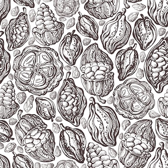 Cacao beans texture seamless pattern. hand drawn exotic wild fruit