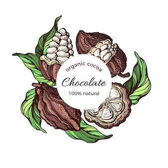 Какао этикетка. иллюстрация, дизайн природы на белом фоне