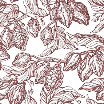 Какао бесшовные модели. рисованной ботанические ветви, бобовые, тропические фрукты, листья. натуральный шоколад органическая сладкая пища. графическое искусство ретро эскиз на белом фоне. античные обои