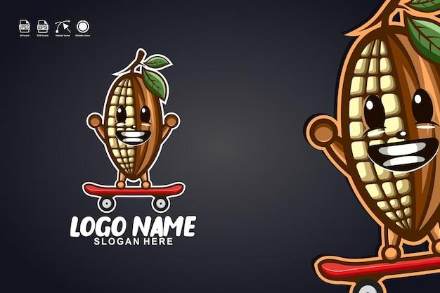 カカオスケートボードかわいいマスコットキャラクターのロゴデザイン