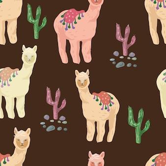 サボテンとアルパカのかわいいシームレスパターン