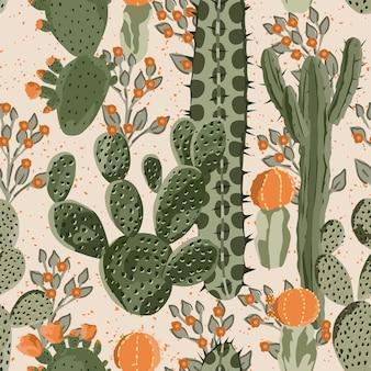 サボテンと花のシームレスなパターンの壁紙