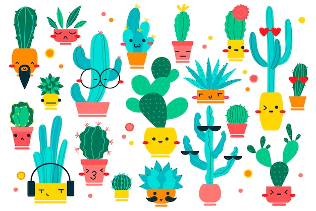 Cacti doodle set. hand drawn doodle patterns of different shpae cactus botanical collection mascots character with happy faces on white background. dessert and house plants illustration.