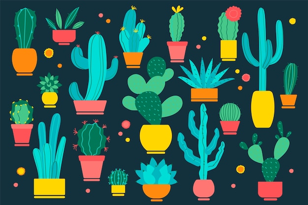 サボテン落書きセット。黒い背景にさまざまな形のサボテン植物学コレクションの手描き落書きパターン。デザートと家の植物水吸収植物イラスト。