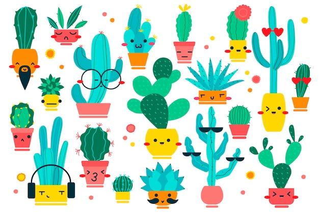 サボテン落書きセット。白い背景の上の幸せそうな顔で異なるshpaeサボテン植物コレクションマスコットキャラクターの手描き落書きパターン。デザートと家の植物のイラスト。