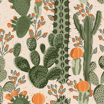 Cacti and flowers seamless pattern wallpaper