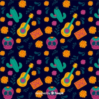 Cacti and guitar seamless dia de muertos pattern