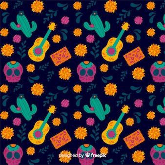 Cacti and guitar seamless dia de muertos pattern