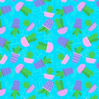 핑크 냄비 원활한 패턴 컬렉션에 선인장