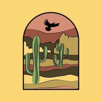 砂漠のサボテン、空の鳥。 tシャツのプリント、ポスター、その他の目的のための砂漠をテーマにしたベクターグラフィック。