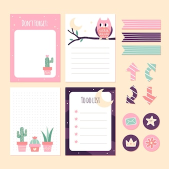 Cacti and owl scrapbook notes and stickers