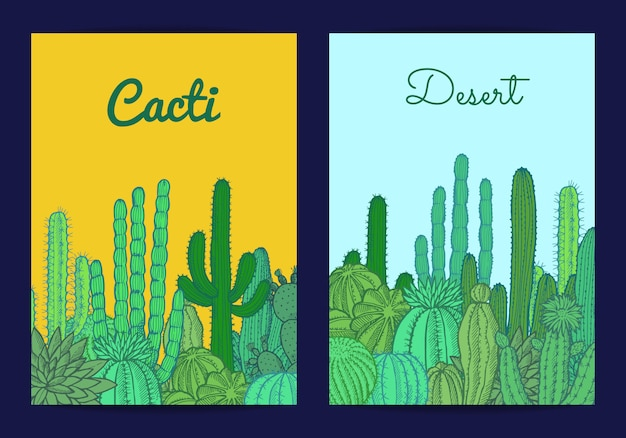 Cacti plants card or flyer